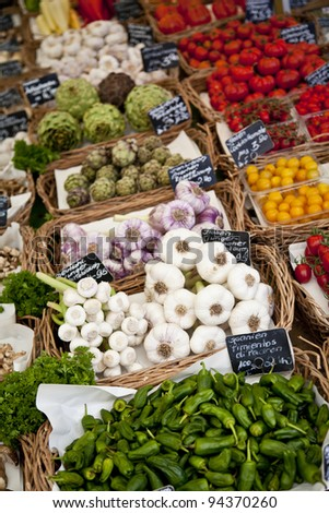 Vegetable products for sale in Viktualienmarkt, Munich, Germany - stock photo