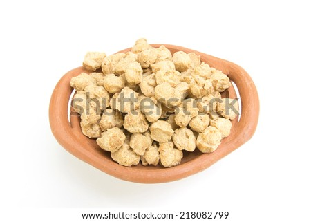 Vegetable protein (Soy protein) on a white background - stock photo