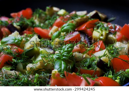 Vegetable Ratatouille in frying pan  - stock photo