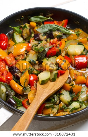 Vegetable ratatouille: steamed zucchini, eggplant, tomatoes, bell peppers, onion, garlic, parsley, lemon juice