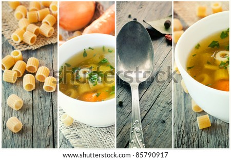 Vegetable rustic soup collage. Collection made of four images: soup with onion and carrots, parsley garnish, pasta and vintage spoon. - stock photo