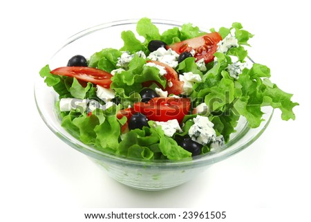 vegetable salad and roquefort cheese over white - stock photo