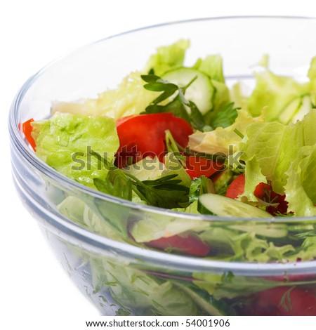 vegetable salad bowl on white - stock photo