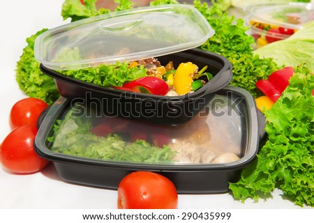 Vegetable salad in a box for lunch - stock photo