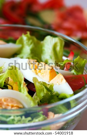 Vegetable salad in a transparent glass bowl - stock photo