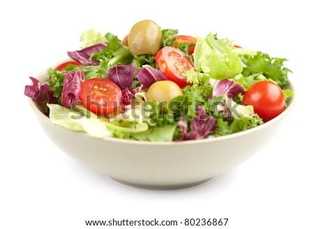 vegetable salad isolated on white - stock photo