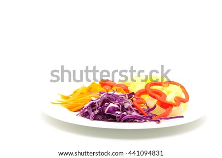 Vegetable salad  isolated on white background