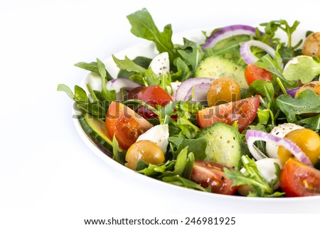 vegetable salad on white background - stock photo