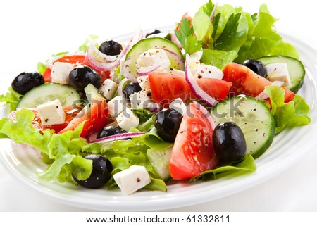 Vegetable salad with cheese - stock photo