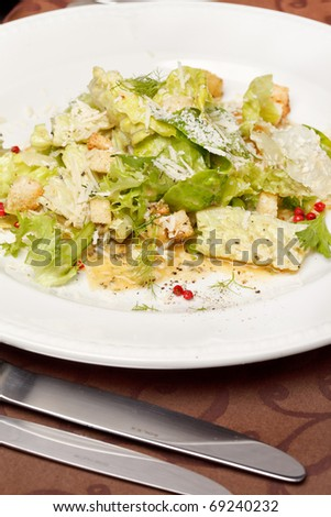 vegetable salad with croutons - stock photo