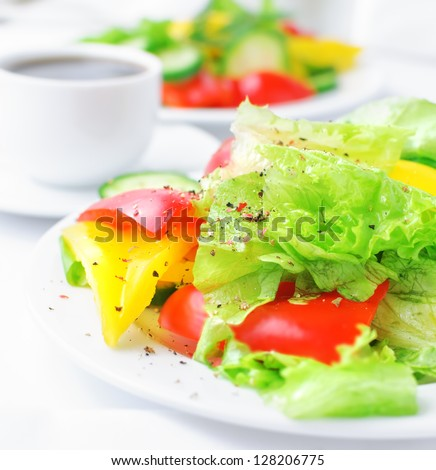 vegetable salad with lettuce, cucumber and paprika - stock photo