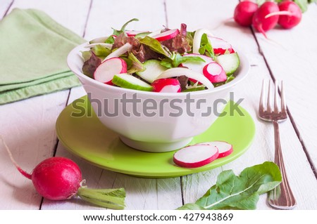Vegetable salad with radish, cucumber and arugula - stock photo