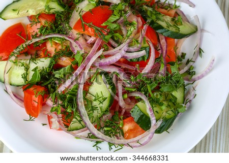Vegetable salad with tomato, cucumber, onuon and dill - stock photo