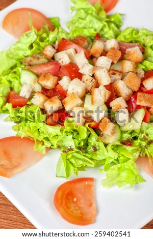 Vegetable salad with tomato, lettuce, cucumbers and crackers - stock photo