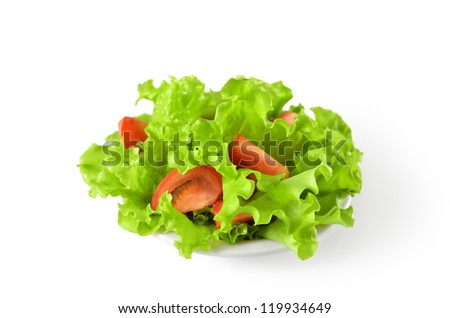 vegetable salad with tomatoes in plate - stock photo