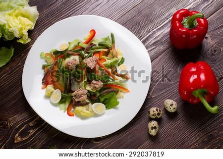 Vegetable salad with tuna and ingredients. Healthy salad, healthy food. - stock photo