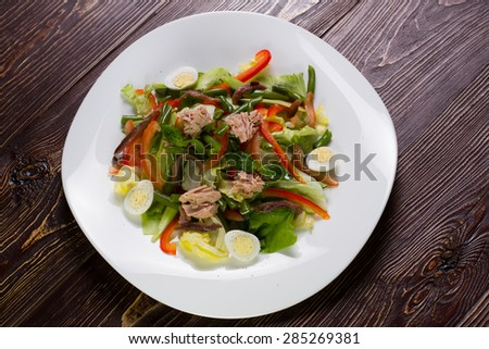 Vegetable salad with tuna. Healthy salad, healthy food. - stock photo
