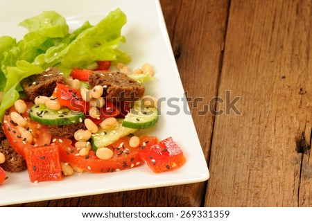 Vegetable salad with white beans, rye toasts, tomatoes, cucumber, black sesame seeds and lettuce in square plate closeup with copyspace - stock photo