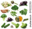 Vegetable sampler, variety of vegetables isolated on pure white background - stock photo
