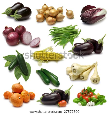 Vegetable Sampler with clipping paths - stock photo