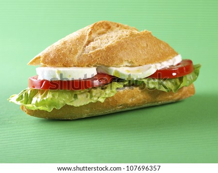 Vegetable sandwich. Bocadillo vegetal. Vegetable sandwich with lettuce, tomato and fresh white cheese.