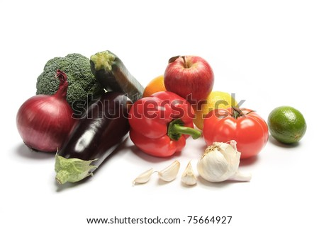 Vegetable selection isolated on a white background. - stock photo