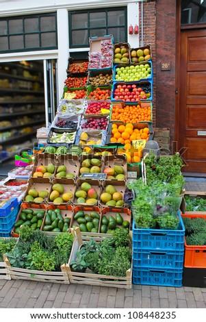 Vegetable shop in Gorinchem. Netherlands - stock photo