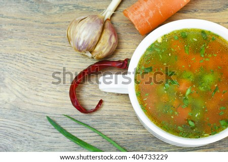 Vegetable Soup, Chicken Diet Bouillon. Studio Photo. - stock photo