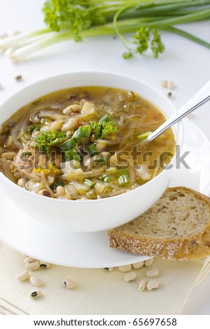 vegetable soup in white bowl - stock photo