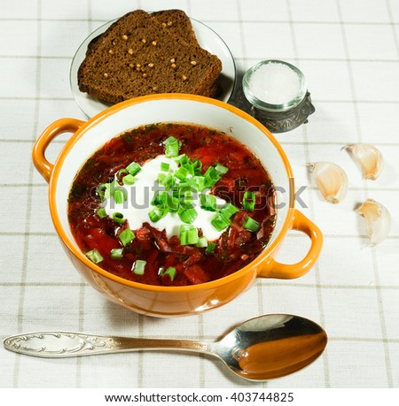 Vegetable soup.  Traditional Ukrainian soup with fresh vegetables with sour cream. Rye bread, garlic, salt and spoon,. Serving on a white tablecloth. - stock photo