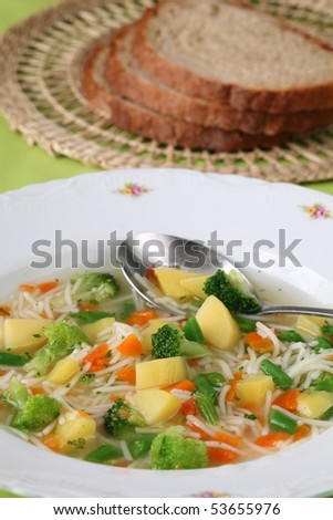 Vegetable Soup With Carrot Potato Broccoli Green Beans Parsley And Noodles