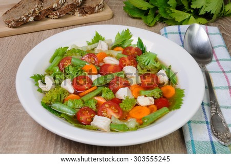 Vegetable soup with chicken, green beans, broccoli - stock photo