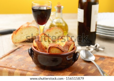 vegetable soup with croutons - stock photo