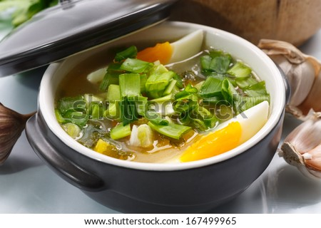 vegetable soup with green onion and egg on a white background - stock photo