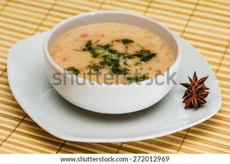 Vegetable soup with meatballs and potato