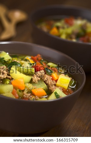Vegetable soup with mincemeat, green bean, potato, leek, carrot, tomato and parsley served in brown bowls (Selective Focus, Focus in the middle of the soup)