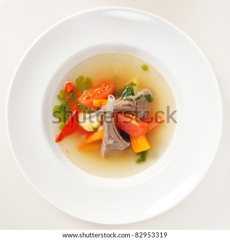 vegetable soup with ribs - stock photo