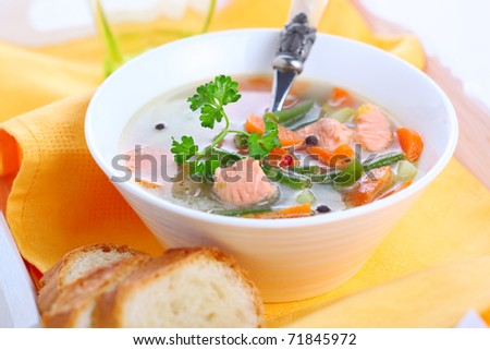 Vegetable soup with salmon in white bowl - stock photo