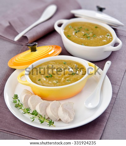 vegetable soup with savory sauce in a ceramic cocotte on a white plate with slices of boiled chicken - stock photo