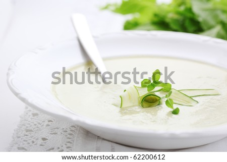 Vegetable soup with zucchini in a white plate - stock photo