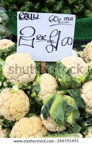 Vegetable stand at a marketplace in Birmingham, United Kingdom. Farmers market. - stock photo