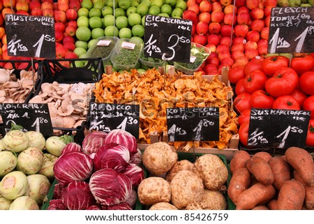 Vegetable stand at a marketplace in Vienna, Austria. Farmers market. - stock photo