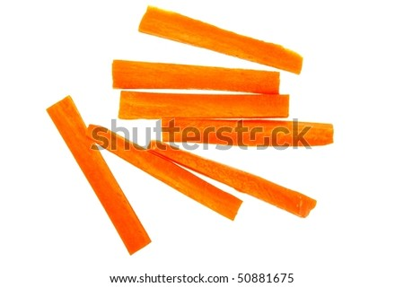 vegetable staple raw orange carrot isolated on white - stock photo