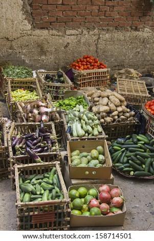 Vegetable street small market - stock photo