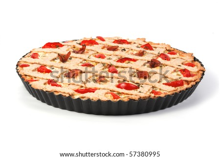 Vegetable tart with tomatoes and prosciutto isolated on white background - stock photo