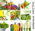 Vegetable theme collage composed of few images - stock photo