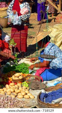 Vegetable Trader, Inle Lake Market. Myanmar (Burma) - stock photo