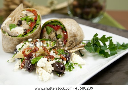 Vegetable wraps on a plate. Shallow DOF. Focus on salad in front of wraps. - stock photo