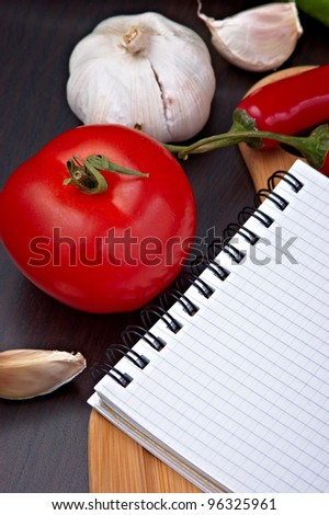 vegetables and cooking utensils for cutting table - stock photo