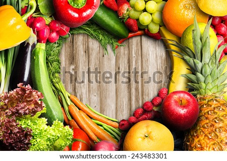 Vegetables and Fruit Heart Shaped - stock photo